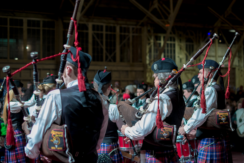 Pipers of the Glengarry pipes and drums